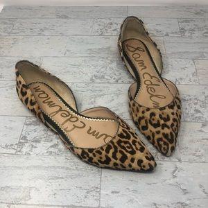 Sam Edelman d'Orsay Leopard Calf Hair Flats